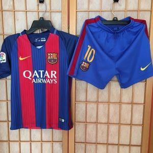 Kids Barcelona Messi #10 Soccer Nike Set